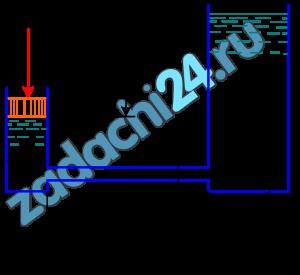 Поршень диаметром D движется равномерно вниз в цилиндре, подавая жидкость Ж в открытый резервуар с постоянным уровнем (рис.9). Диаметр трубопровода d, его длина l. Когда поршень находится ниже уровня жидкости в резервуаре на Н=0,5 м, потребная для его перемещения сила равна F. Определить скорость поршня и расход жидкости в трубопроводе. Построить напорную и пьезометрическую линии для трубопровода. Коэффициент гидравлического трения трубы принять λ=0,03. Коэффициент сопротивления входа в трубу ξвх=0,5. Коэффициент сопротивления выхода в резервуар ξвых=1,0.
