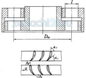 Рассчитать и построить характеристики турбины турбобура M=f(n) и N=f(n) по заданным размерам турбины, числу ступеней k и расходу Q промывочной жидкости, исходя из данных, приведенных в табл.4 и рис.3. Турбина симметричная, нормально циркулятивная.
