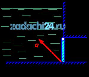 Донное отверстие плотины перекрыто плоским прямоугольным щитком h×b, верхняя кромка которого шарнирно прикреплена к плотине. 1 Какое усилие необходимо приложить к канату, чтобы открыть щит при следующих данных: уровень воды перед плотиной Н=4 м, высота щита h=1 м, ширина b=2 м, угол между направлением каната и горизонтом α=45º (рис.10.2). 2 Построить эпюру давления на щиток
