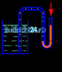 Для измерения уровня жидкости в сосуде иногда используется устройство, схема которого изображена на рис.5. Определить уровень бензина в баке, если h=220 мм рт. ст, а его плотность ρ=840 кг/м³.