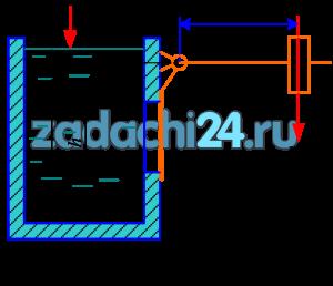 Квадратное отверстие со стороной h=1 м в вертикальной стенке резервуара закрыто плоским щитом. Щит закрывается грузом массой m, на плече х=1,3 м. Определить величину массы груза, необходимую для удержаний глубины воды в резервуаре Н=2,5 м, если величина а=0,5 м.