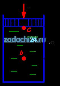 Определить абсолютное и избыточное давление в точке С под поршнем и в точке b на глубине h=2 м, если диаметр поршня d=0,2 м, а сила действующая на поршень Р=3 кН. Плотность жидкости ρ=850 кг/м³.