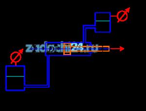 Определить усилие F, развиваемое гидроцилиндром, если давление газа в гидроаккумуляторах равно рмн и рвак. Уровни жидкости в гидроаккумуляторах равны h1 и h2. Диаметры гидроцилиндра и штока равны D и dшт. Плотность жидкости в гидросистеме равна ρ.