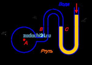Определить манометрическое давление в трубопроводе А, если высота столба ртути по пьезометру h2=25 см. Центр трубопровода расположен на h1=40 см ниже линии раздела между водой и ртутью.