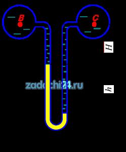 Вакуумметрическое давление в трубопроводе В рВ=25 кПа. Определить абсолютное и избыточное давление в трубопроводе С, если трубопровод В заполнен жидкостью с относительной плотностью δ=1,18, трубопровод С - водой. Показания дифференциального ртутного манометра h=0,25 м, Н=0,85 м.