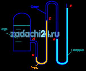 Определить высоту столба жидкости h5, если задано избыточное давление воздуха в сосуде р0изб и известны все остальные высоты. Плотности жидкостей: вода - 1000 кг/м³; спирт - 800 кг/м³; ртуть - 13600 кг/м³; глицерин - 1245 кг/м³.