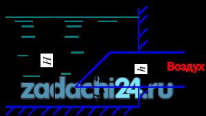 Определить силу гидростатического давления и центр давления воды на прямоугольный затвор шириной b=1,2 м, закрывающий вход в прямоугольную трубу, высота которой h=0,8 м. Глубина жидкости в резервуаре Н=3,5 м, а=0,5 м.