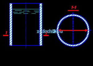 Определить минимальную толщину стенок стального резервуара е (σ=13734·104 Па=137, 34 МПа) радиусом R, заполненного водой, если глубина воды в резервуаре h (схема 3.19).