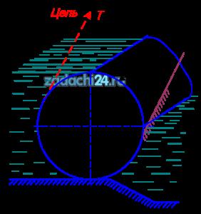 Цилиндрический затвор диаметром D и длиной l, масса которого M тонн, открывается при качении его вверх цепью по наклонным направляющим, составляющим угол α=70º с горизонтом. Определить величину и точку приложения силы давления воды на закрытый затвор. Найти натяжение цепи  при трогании затвора с места и при выходе его и воды.