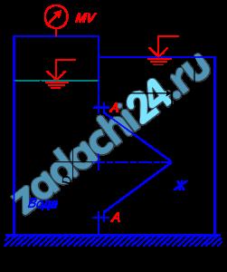 Круглое отверстие между двумя резервуарами закрыто конической крышкой с размерами D и L. Закрытый резервуара заполнен водой, а открытый – жидкостью Ж. К закрытому резервуару сверху присоединен мановакуумметр MV, показывающий манометрическое давление рм или вакуум рв. Температура жидкостей 20 ºС, глубины h и H. Определить силу, срезывающую болты A, и горизонтальную силу, действующую на крышку. Силой тяжести крышки пренебречь. Векторы сил показать на схеме.