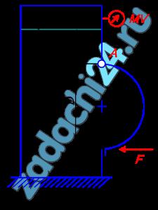 Закрытый резервуар (рис. 14, табл.4) заполнен дизельным топливом, температура которого 20 ºС. В вертикальной стенке резервуара имеется прямоугольное отверстие (D×b), закрытое полуцилиндрической крышкой. Она может повернуться вокруг горизонтальной оси A. Мановакуумметр MV показывает манометрическое давление рм или вакуум рвак. Глубина топлива над крышкой равна Н, массы крышки - m. Определить усилие F, которое необходимо приложить к нижней части крышки, чтобы она не открывалась.