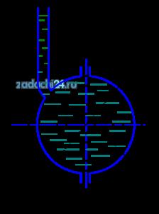 Шар диаметром D наполнен водой. Уровень жидкости в пьезометре, присоединенном к шару, установился на высоте Н от оси шара. Определить силу давления на боковую половину внутренней поверхности шара (рис.5). Показать на чертеже вертикальную и горизонтальную составляющие, а также полную силу давления.