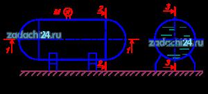 Горизонтальный цилиндрический резервуар (рисунок 16), закрытый полусферическими днищами, заполнен жидкостью Ж. Длина цилиндрической части резервуара L, диаметр D. Манометр M показывает манометрическое давление рм. Температура жидкости 20 ºС. Определить силы, разрывающие резервуар по сечениям: 1-1, 2-2 и 3-3. Данные для решения задачи в соответствии с вариантом задания выбрать из таблицы 4.