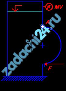 Закрытый резервуар заполнен дизельным топливом, температура которого 20 ºС. В вертикальной стенке резервуара имеется прямоугольное отверстие (D×b), закрытое полуцилиндрической крышкой. Она может повернуться вокруг горизонтальной оси A. Мановакуумметр MV показывает манометрическое давление рм или вакуум рв. Глубина топлива над крышкой равна Н. Определить усилие F, которое необходимо приложить к нижней части крышки, чтобы она не открывалась. Силой тяжести крышки пренебречь. На схеме показать векторы действующих сил.