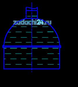 Вертикальный цилиндрический резервуар высотой Н и диаметром D закрывается полусферической крышкой, сообщающейся с атмосферой через трубу внутренним диаметром d (рис.4.1). Резервуар заполнен мазутом, плотность которого ρ=900 кг/м³.  Требуется определить:  1 Высоту поднятия мазута h в трубе при  повышении температуры на t, ºC.  2 Усилие, отрывающее крышку резервуара при подъеме мазута на высоту h за счет его разогрева.  Коэффициент температурного расширения мазута принять равным βt=0,00072 1/ºC.