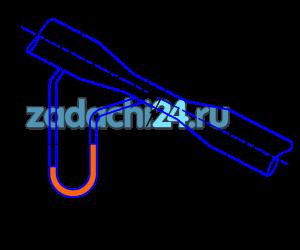 Определить теоретический расход воды, проходящий через водомер Вентури, установленный под углом α=30º к горизонту (рис.14), если разность уровней, показываемая дифференциальным ртутным манометром, равна h. Больший и меньший диаметры водомера соответственно равны d1 и d2, расстояние между сечениями L.