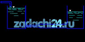 Для системы, показанной на рис.20, определить напор Н, обеспечивающий пропуск воды расходом Q. Длины участков труб и диаметры: L1, d1 и L2, d2. Расширение выполнено под углом 30º. Уровни в резервуарах постоянные: h1=4,5 м и а=0,5 м. Скоростным напором в резервуаре пренебречь.
