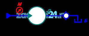 Вал гидродвигателя Д, рабочий объем которого V0, нагружен крутящим моментом Мк. К двигателю подводится поток рабочей жидкости – масло Ж, температура которого 60 ºС, с расходом Q. К.п.д. гидродвигателя: объемный η0=0,96, гидромеханический ηгм. Определить частоту вращения вала гидродвигателя и показание манометра М, установленного непосредственно перед двигателем, если потери давления в обратном клапане Коб составляет Δркл=0,05 мм. Длина сливной линии равна lc. Эквивалентная шероховатость Δэ=0,05 мм.
