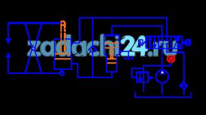 В гидравлическом зажимном устройстве сварочного агрегата (рис.4) рабочая жидкость (минеральное масло плотностью ρ=900 кг/м³; вязкостью ν=10-4 м²/c) из бака 1 подается насосом 2 в линию нагнетания 4, по которой она направляется через золотниковый гидрораспределитель 5 в мультипликатор (усилитель давления) 6. Из мультипликатора жидкость (с повышенным давлением) по трубопроводу 7 поступает в поршневую полость рабочего цилиндра зажимного устройства 9. Под давлением жидкости поршень 10 со штоком 11, уплотненные шевронными манжетами, перемещается вверх со скоростью υп, преодолевая силы трения в уплотнениях поршня Тп и штока Тш и развивая зажимное усилие F. Из штоковой полости гидроцилиндра жидкость по трубопроводам 12 и 13 через распределитель 5 и фильтр 14 сливается в бак 1.  Для возврата поршня со штоком в исходное положение жидкость подается в штоковую полость гидроцилиндра. Для этого производится перестановка гидрораспределителя в правую позицию, при которой поток жидкости от насоса направляется по трубопроводу 12 в штоковую полость гидроцилиндра, и через обратный клапан 8 – в нижнюю полость мультипликатора. Туда же будет поступать рабочая жидкость из нижней полости гидроцилиндра. Поршень мультипликатора переместится вверх, а поршень гидроцилиндра вниз, и оба займут исходное положение.  Заданы значения следующих величин: диаметра поршня гидроцилиндра Dп; диаметра штока гидроцилиндра Dш=0,45Dп; ширины манжетного уплотнения поршня и штока b; скорость рабочего хода поршня υп; большого диаметра мультипликатора D1; меньшего диаметра мультипликатора D2=0,4D1; давления, развиваемого насосом при рабочем ходе поршня, настраиваемого предохранительным клапаном 3, рн; диаметра линии нагнетания 4, d1; диаметра линии слива 13, d2 (табл.3).  Требуется определить величину зажимного усилия F, с учетом сил трения в уплотнениях поршня и штока и потерь давления в гидроаппаратуре системы (золотниковом распределителе и пластинчатом фильтре).