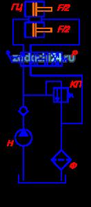 В приводах многих машин (прессах, бульдозерах, скреперах подъемниках, станках) применяется схема гидропривода, изображенная на рисунке: Гидропривод состоит из бака масляного Б, насоса Н, обратного клапана КО, гидрораспределителя Р, гидроцилиндров ГЦ, трубопроводов, предохранительного клапана КП, фильтра Ф. Значения усилия на штоке F, скорости перемещения рабочего органа (поршня) V, рабочего давления в гидроприводе p и длины трубопроводов l приведены в таблице 2. Для заданной гидросхемы необходимо: Рассчитать и выбрать стандартный гидроцилиндр; Рассчитать диаметр трубопровода; Подобрать стандартную аппаратуру: КО, Р, КП, Ф; Рассчитать потери давления в гидроприводе; Выбрать стандартный насос по результатам расчета.