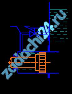 Гидравлическое реле времени, служащее для включения и выключения различных устройств через фиксированные интервалы времени, состоит из цилиндра, в котором помещен поршень диаметром D1, со штоком - толкателем диаметром D2. Цилиндр присоединен к емкости с постоянным уровнем жидкости H0. Под действием давления, передающегося из емкости в правую полость цилиндра, поршень перемещается, вытесняя жидкость из левой полости в ту же емкость через трубку диаметром d (рис.3.4). Требуется: Вычислить время T срабатывания реле, определяемое перемещением поршня на расстояние S из начального положения до упора в торец цилиндра Движение поршня считать равномерным на всем пути, пренебрегая незначительным временем его разгона. В трубке учитывать только местные потери напора, считая режим движения жидкости турбулентным. Коэффициент сопротивления колена ζ=1,5 и дросселя на трубке ζд. Утечками и трением в цилиндре, а также скоростными напорами жидкости в его полостях пренебречь.