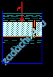 На поршень диаметром D действует сила F (рис.11). Определить скорость движения поршня, если в цилиндре находится воды, диаметр отверстия в поршне d, толщина поршня a. Силой трения поршня о цилиндр пренебречь, давление жидкости на верхнюю плоскость поршня не учитывать.