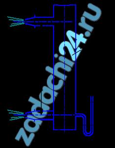 Газ, заполняющий вертикальную трубу, вытекает в атмосферу через два насадка диаметром d=10 мм, расположенные по высоте трубы на расстоянии а=100 мм друг от друга. Коэффициент расхода насадков (с учетом сопротивления подводящих горизонтальных трубок) μ=0,95.  Определить массовый расход газа через каждый насадок, если показание спиртового манометра, присоединенного к трубе у нижнего насадка, h=200 мм (плотность спирта ρсп=800 кг/м³).  Давление атмосферного воздуха на уровне нижнего насадка рат=745 мм ртю ст., температура воздуха и газа t=20 ºC. Значения удельной газовой постоянной воздуха R=287 Дж/(кг·К) и газа R=530 Дж/(кг·К).  Скоростным напором и потерями в трубе пренебречь, плотности воздуха и газа принимать постоянными по высоте а.