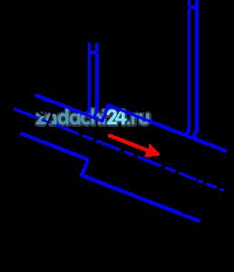При внезапном расширении трубопровода скорость жидкости в трубе меньшего диаметра равна υ1 (рис.12). Определить разность показаний пьезометров h, если отношение диаметров труб D:d=2, потерями напора пренебречь.