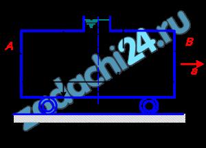 Цилиндрическая цистерна наполнена авиационным бензином, температура которого 20 ºС. Диаметр цистерны D, длина L. Определить силы давления на плоские торцевые стенки А и В цистерны в двух случаях: 1) когда цистерна не движется; 2) при движении цистерны горизонтально с положительным ускорением а. Данные, необходимые для решения задачи, в соответствии с вариантом задания выбрать из табл.9.