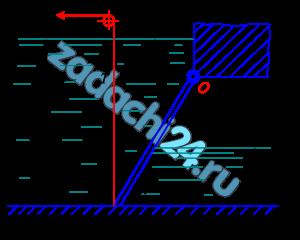 Определить усилие Т, которое нужно приложить к вертикальному тросу для открытия щита, перекрывающего канал прямоугольного сечения. Щит расположен под углом α=60º к горизонту и закреплен шарнирно в точке О (рис. 2.43). Ширина щита в плоскости, перпендикулярной плоскости чертежа, равна В. Глубина воды перед щитом Н1, за щитом Н2. Уровень воды над шарниром h. Принять массу щита M.