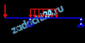 РАВНОВЕСИЕ ПЛОСКОЙ СИСТЕМЫ ПАРАЛЛЕЛЬНЫХ СИЛ  Определить реакции связей для балок, изображенных на рисунке.  Примечание: каждый вариант включает в себя две схемы балок.  Двухконсольная горизонтальная балка шарнирно закреплена в точке А и опирается на каток в точке В. На балку действует вертикальная сила Р=1 кН, приложенная в точке D, равномерно распределённая вертикальная нагрузка на участке FC интенсивностью q=1 кН/м. Длины участков: АD=1 м, АС=1 м, ВС=1 м. Определить реакции опор, пренебрегая весом балки.