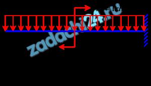 Балка АВ  длиной l заделана правым концом в стену. На балку действует распределённая вертикальная нагрузка интенсивностью q=1 кН/м и пара сил, момент которой равен М=1 кН·м. Определить реакцию стены.