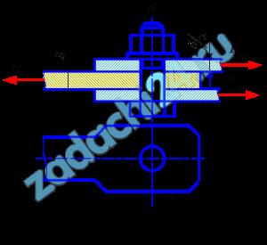 Определить диаметр болта d, соединяющего проушину с двумя накладками (рис.27), и проверить ее на срез и смятие. Растягивающая сила F, допускаемое касательное напряжение на срез [τ]ср=90 Н/мм², допускаемое напряжение на смятие [σ]см=280 Н/мм². Данные своего варианта принять по табл.12.