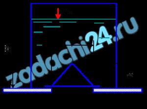 Построить тело давления и определить силу, действующую на коническую крышку диаметром d=1,2 м (рис. 4.49). Резервуар заполнен водой, глубина воды Н=3,0 м, высота крышки h=1,0 м. Вакуумметрическое давление в резервуаре р0в=0,05·105 Па.