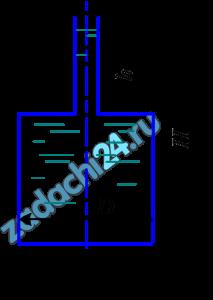 Цилиндрический сосуд (рис. 6.54) диаметром D=200 мм и высотой Н=300 мм движется вниз с ускорением a=0,5g. Определить силы давления жидкости на торцевые поверхности, если h=100 мм, жидкость – вода. Площадью отверстия в верхней торцовой поверхности пренебречь.