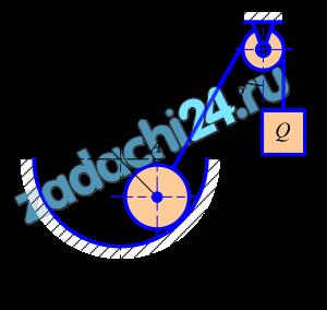 Однородное тело (диск) силой тяжести G (рисунок 1) удерживается в равновесии гладкой поверхностью и телом весом Q, подвешенным на канате ADB и перекинутым через блок D. Определить давление диска на поверхность, натяжение нити и вес тела Q.