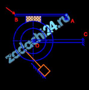 Механизм находится в вертикальной плоскости. Пренебречь трением в шарнирах, вес стержней, колодок и нитей не учитывать. f - коэффициент трения скольжения грузов о плоскость и в тормозной колодке. Определить минимальное значение силы и реакция опор системы, находящееся в равновесии.