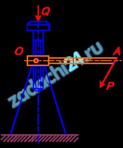 Мещерский И.В. Сборник задач по теоретической механике Задача 46.1 Груз Q поднимается с помощью домкрата, который приводится в движение рукояткой ОА=0,6 м. К концу рукоятки, перпендикулярно ей. приложена сила Р=160 Н. Определить величину силы тяжести груза Q, если шаг винта домкрата h=12 мм.