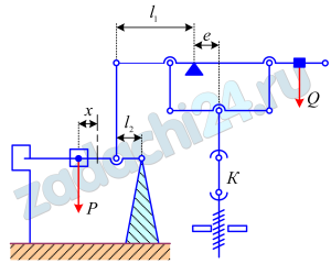 Рисунок представляет схему машины для испытания образцов на растяжение. Определить зависимость между усилием Х в образце К и расстоянием х от груза Р массы М до его нулевого положения О, если при помощи груза Q машина уравновешена так, что при нулевом положении груза Р и при отсутствии усилия в К все рычаги горизонтальны. Даны расстояния l1, l2 и e.