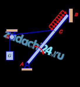 Определить реакции связей балки АВ, изображенной на рисунке. Груз G подвешен на канате, перекинутом через блок D и прикреплен к балке в указанной точке.