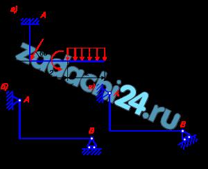 Задание С.1. Определение реакций опор твердого тела На схеме показаны для каждого варианта три способа закрепления бруса, ось которого – ломаная линия. Задаваемая нагрузка (см. табл. 1) и размеры (м) во всех случаях одинаковы. Определить реакции опор для того способа закрепления бруса, при котором реакции, указанная в табл. 1, имеет наименьший модуль.