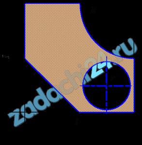 Определить положение центра тяжести плоской однородной фигуры, если l=80 см, R=40 см, r=0,45R.