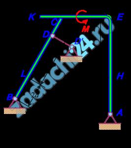 Конструкция состоит из жесткого угольника и балки, которые в точке С свободно опираются друг на друга (рис. С2.7). Внешними связями, наложенными на конструкцию, является в точке А шарнир (рис. С2.7); в точке В шарнир (рис. С2.7); в точке D невесомый стержень DD′ (рис. С2.7). На каждую конструкцию действуют пара сил с моментом М=40 кН·м; равномерно распределенная нагрузка интенсивности q=10 кН/м и еще две силы. Численная величина их, направления и точки приложения указаны в табл. С2а. В табл. С2 указан участок действия распределенной нагрузки. Требуется определить реакции связей в точках А, В, С и в точке D, а=0,4 м.