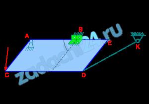РАСЧЕТНАЯ РАБОТА №4  Равновесие пространственной системы сил  Однородная прямоугольная плита ABCD веса G закреплена в точке A и B цилиндрическим шарниром и поддерживается в горизонтальном положении тросом KC (вар. 12) и KD (вар. 13) или невесомым стержнем KD (вар. 9-11, 17), расположенным в вертикальной плоскости и образующим с горизонтальной плоскостью плиты угол β. В вар. 14 плита опирается на острие в точке E. На плиту действует сосредоточенная нагрузка F, образующая угол α с плоскостью плиты. Определить реакции шарниров A и B и натяжение троса T или усилие в невесомом стержне S. Необходимые линейные размеры, углы, величины сил приведены в табл. 4.1.