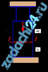 Стальной стержень (Е=2·105 МПа) находится под действием продольной силы Р. Постройте эпюры продольных сил N, напряжений σ, перемещений Δ. Проверьте прочность стержня. Данные взять из табл. П.2.