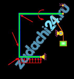 Стальная стержневая конструкция находится под действием сил, моментов и распределенной нагрузки (табл. 1).  Определить реакции опор твердого тела. Сделать проверку.