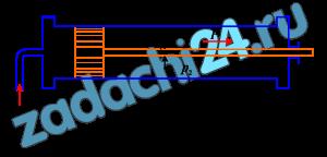 Какое давление р1 надо подвести к гидравлическому цилиндру, чтобы поршень создал силу Р=7,85 кН/м² (800 кг/см²) (рис. 6)? Избыточное давление с правой стороны поршня р2, диаметр поршня D, а штока d. Силу трения, теряемую в сальнике, принять равной 10% от силы Р1=р1πD²/4.