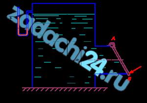 В закрытом резервуаре, заполненном бензином, выведен патрубок квадратного сечения со стороной h=400 мм для выпуска бензина. Патрубок перекрыт крышкой АВ, установленной под углом α=60º. Крышка поворачивается шарнирно относительно оси А (рис. 2.13). Определить нормальное усилие (Т) в точке В для удержания крышки в закрытом положении, если действующий напор на уровне нижней кромки крышки Н=0,8 м. Давление на поверхности бензина соответствует показанию U-образного ртутного манометра hрт=100 мм. Принять плотности жидкостей: бензина ρбенз=720 кг/м³; ртути ρрт=13,6·10³ кг/м³. Массу крышки не учитывать.
