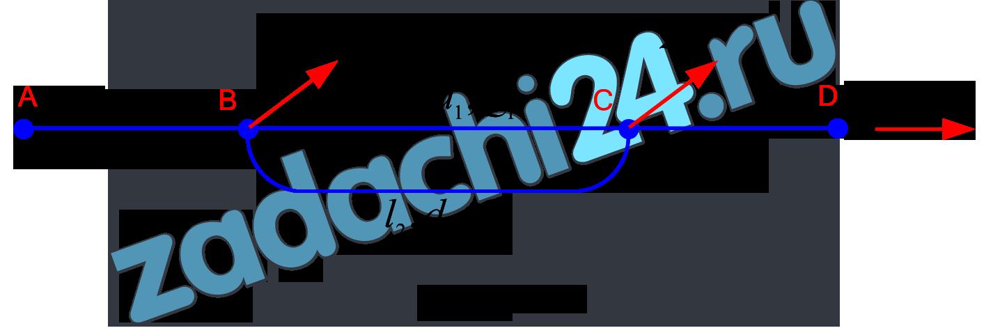 Горизонтальный трубопровод из стальных труб, схема которого показана на рис.1, имеет участок с параллельным соединением труб, состоящим из двух линий длиной l1 и l2 и диаметром d1 и d2. В точках B, C и D заданы расходы воды QB, QC и QD. Требуется: 1 Установить диаметры труб на участках AB и CD по предельным расходам. 2 Определить распределение расходов по 1-й и 2-й линиям параллельного соединения трубопроводов. 3 Определить необходимый напор в точке A для обеспечения заданных расходов QB, QC и QD при заданном свободном напоре (превышении пьезометрической линии над поверхностью земли) в конце трубопроводаHCB, если известны длины участков AB и CD. 4 Построить пьезометрическую линию по длине трубопровода.