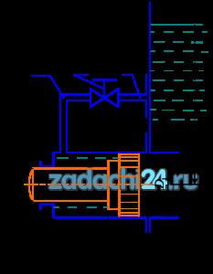 Гидравлическое реле времени, служащее для включения и выключения различных устройств через фиксированные интервалы времени, состоит из цилиндра, в котором помещен поршень диаметром D1, со штоком — толкателем диаметром D2. Цилиндр присоединен к емкости с постоянным уровнем жидкости H0. Под действием давления, передающегося из емкости в правую полость цилиндра, поршень перемещается, вытесняя жидкость из левой полости в ту же емкость через трубку диаметром d (рис.9.1). Требуется определить: Вычислить время T срабатывания реле, определяемое перемещением поршня на расстояние S из начального положения до упора в торец цилиндра. Движение поршня считать равномерным на всем пути, пренебрегая незначительным временем его разгона. В трубке учитывать только местные потери напора. Коэффициент сопротивления колена ξ=1,5 и дросселя на трубке ξд. Утечками и трением в цилиндре, а также скоростными напорами жидкости в его полостях пренебречь.
